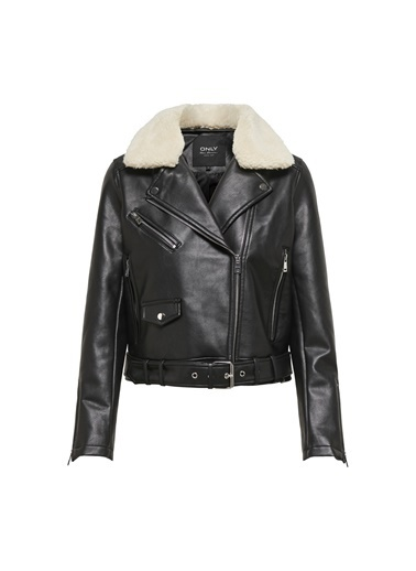 Only Only Hadley Teddy Faux Leather Biker Mont Siyah